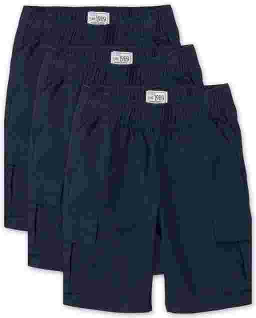 Boys Uniform Woven Pull On Cargo Shorts 3-Pack