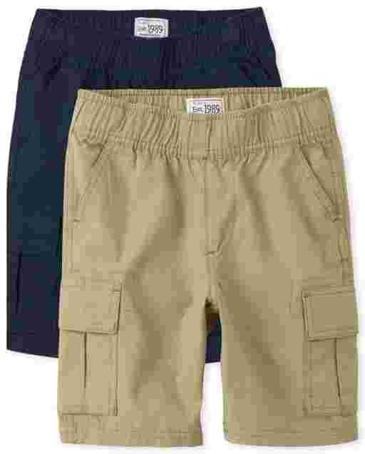Boys Uniform Woven Pull On Cargo Shorts 2-Pack