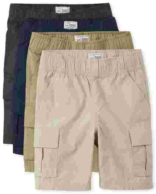 Boys Uniform Woven Pull On Cargo Shorts 4-Pack