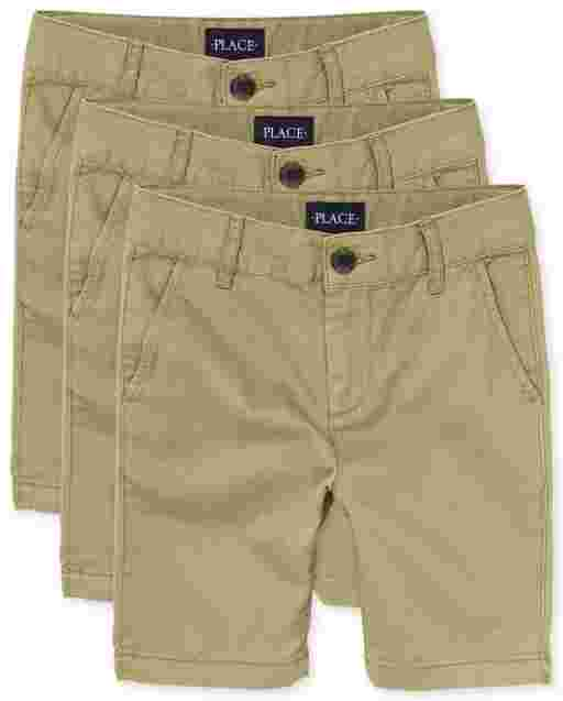 Boys Uniform Woven Stretch Chino Shorts 3-Pack