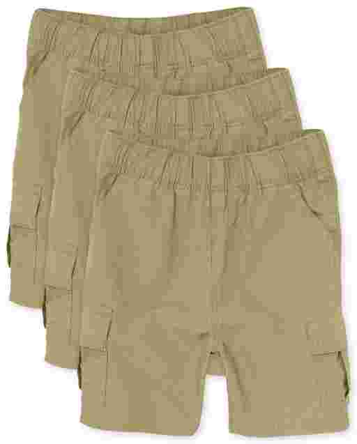 Toddler Boys Uniform Woven Pull On Cargo Shorts 3-Pack