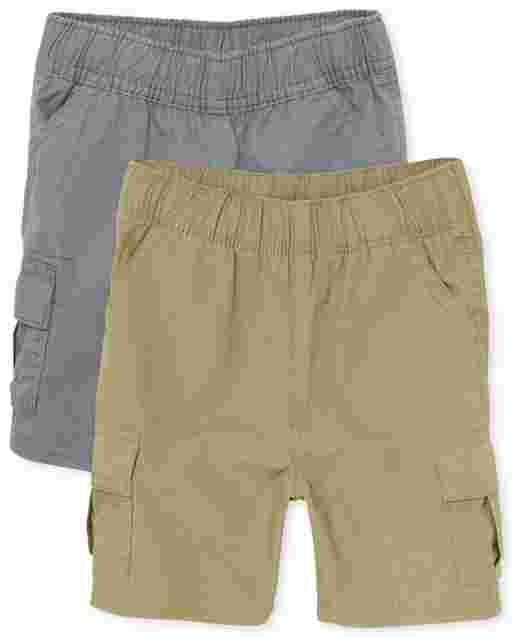 Toddler Boys Uniform Woven Pull On Cargo Shorts 2-Pack