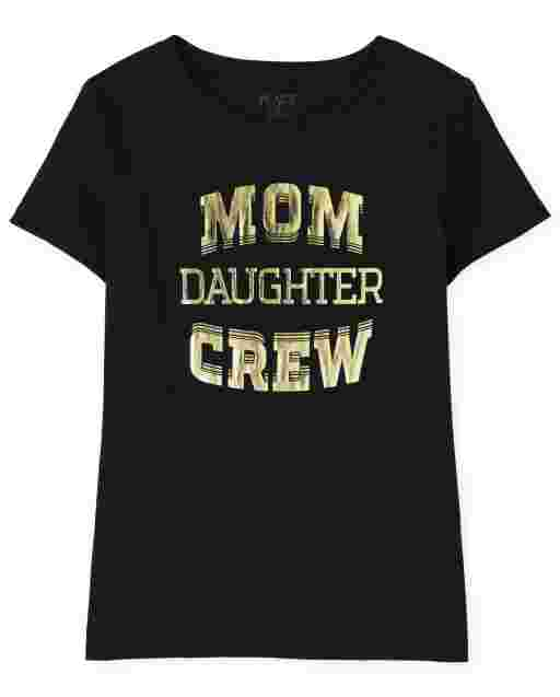 Womens Matching Family Short Sleeve 'Mom Daughter Crew' Graphic Tee