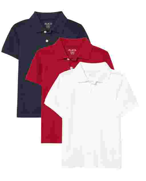 Boys Uniform Short Sleeve Pique Polo 3-Pack