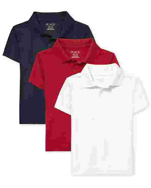 Boys Uniform Short Sleeve Performance Polo 3-Pack