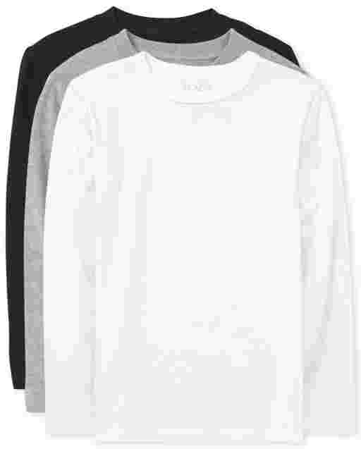 Boys Uniform Long Sleeve Basic Layering Tee 3-Pack