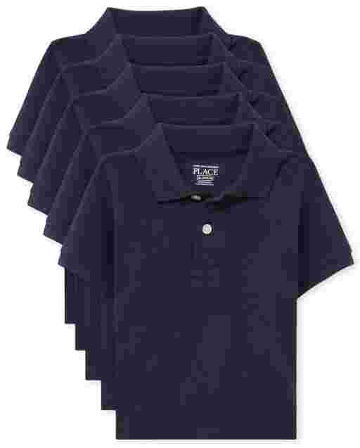 Toddler Boys Uniform Short Sleeve Pique Polo 5-Pack