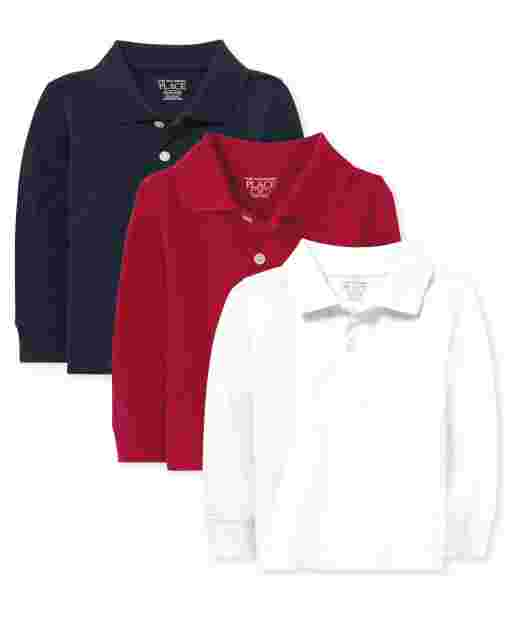 Baby And Toddler Boys Uniform Long Sleeve Pique Polo 3-Pack