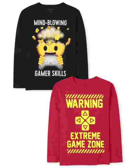 Boys Long Sleeve Video Game Graphic Tee 2-Pack