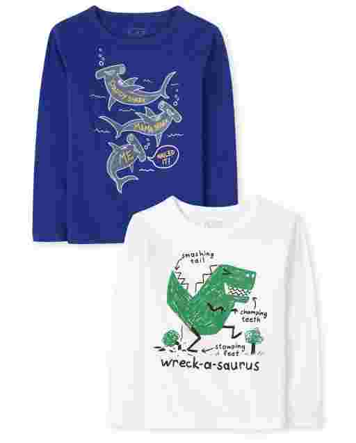 Baby And Toddler Boys Long Sleeve Animal Graphic Tee 2-Pack
