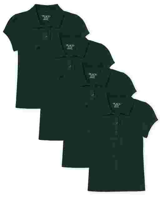 Girls Uniform Short Sleeve Ruffle Pique Polo 4-Pack