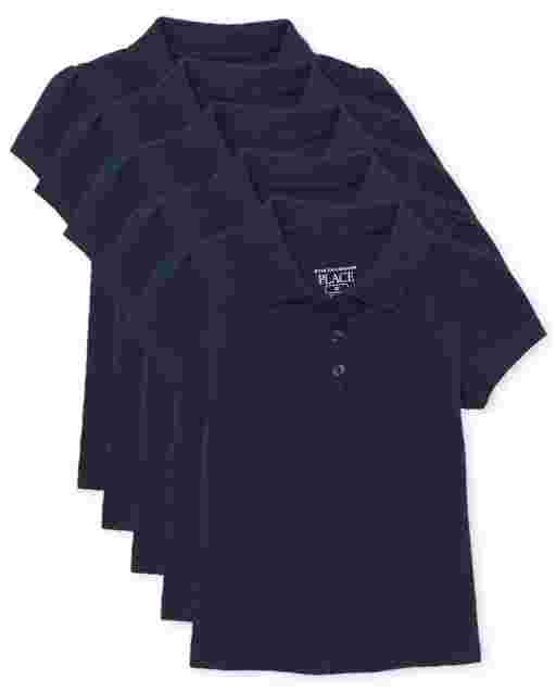 Toddler Girls Uniform Short Sleeve Ruffle Pique Polo 5-Pack