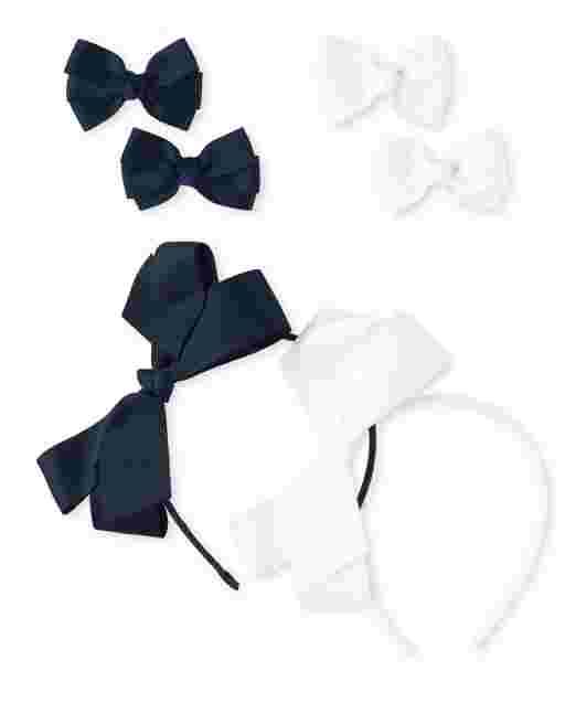 Girls Uniform Bow Hair Clip And Bow Headband 6-Piece Hair Set