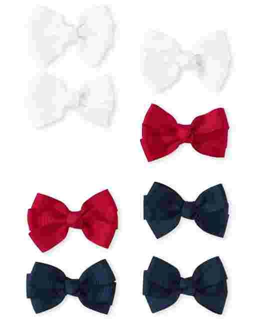 Girls Uniform Bow Hair Clip 8-Pack