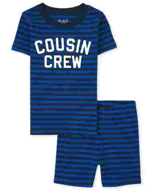 Niños Manga corta ' Primo Crew ' Pijama de algodón a rayas con ajuste ceñido