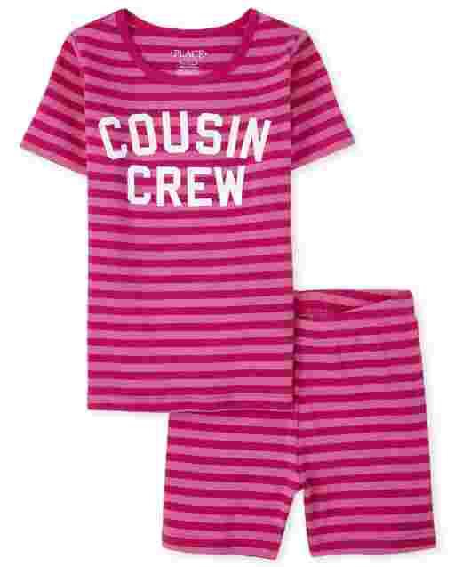 Niñas manga corta ' Primo Crew ' Pijama de algodón a rayas con ajuste ceñido