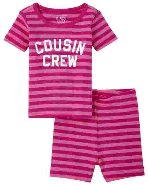 Bebé y niñas pequeñas de manga corta ' Primo Crew ' Pijama de algodón a rayas con ajuste ceñido