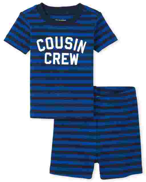 Baby And Toddler Boys Short Sleeve 'Cousin Crew' Striped Snug Fit Cotton Pajamas