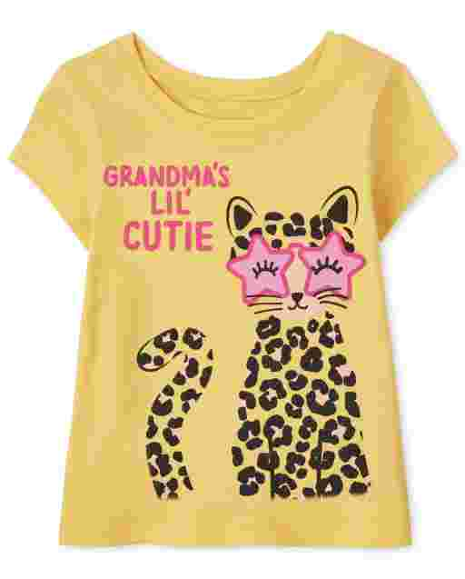 Baby And Toddler Girls Short Sleeve 'Grandma's Lil' Cutie' Leopard Graphic Tee