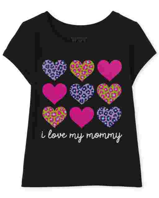 Baby And Toddler Girls Short Sleeve 'I Love My Mommy' Hearts Graphic Tee