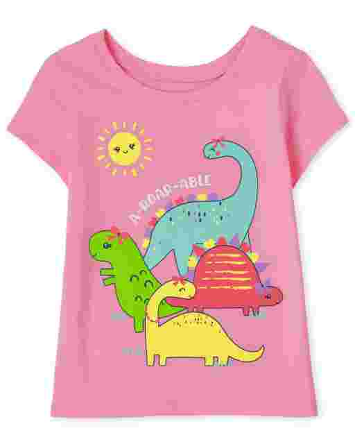 Baby And Toddler Girls Short Sleeve 'A-Roar-Able' Dino Graphic Tee