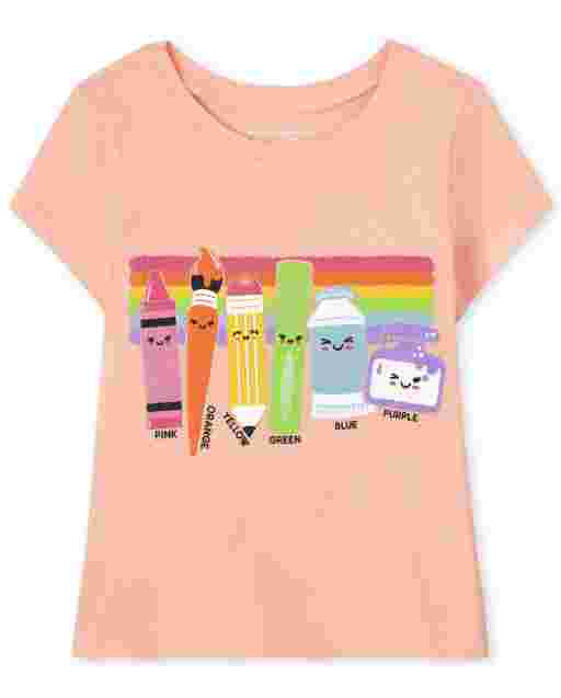 Baby And Toddler Girls Short Sleeve School Supplies Graphic Tee