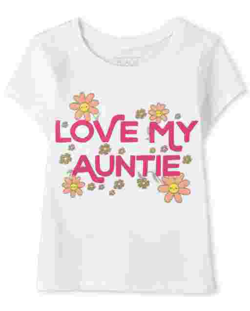 Baby And Toddler Girls Short Sleeve 'Love My Auntie' Graphic Tee