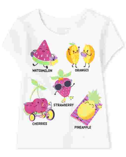 Baby And Toddler Girls Short Sleeve Fruit Graphic Tee