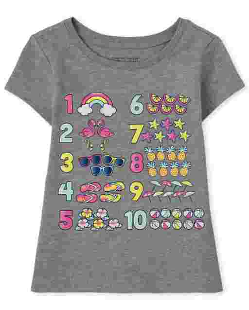 Baby And Toddler Girls Short Sleeve Numbers Graphic Tee