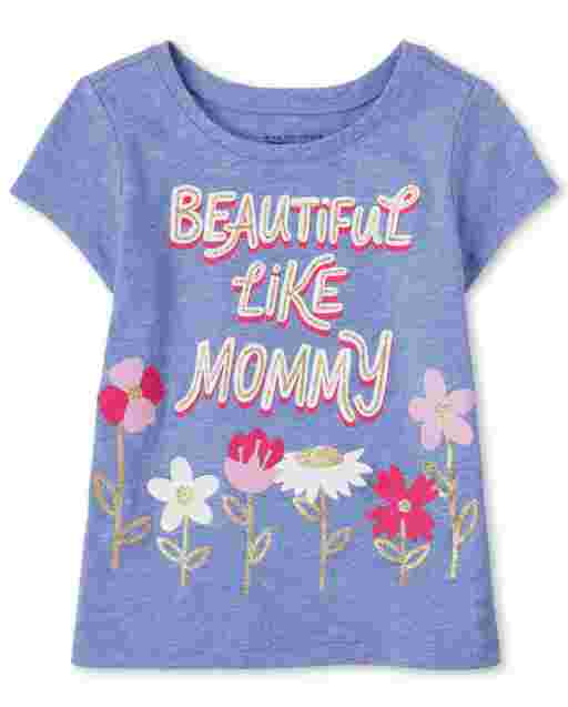 Baby And Toddler Girls Short Sleeve 'Beautiful Like Mommy' Graphic Tee