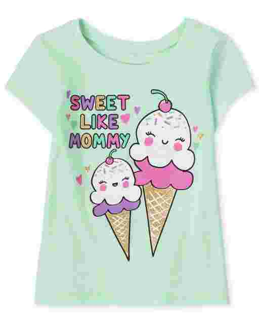 Baby And Toddler Girls Short Sleeve 'Sweet Like Mommy' Graphic Tee
