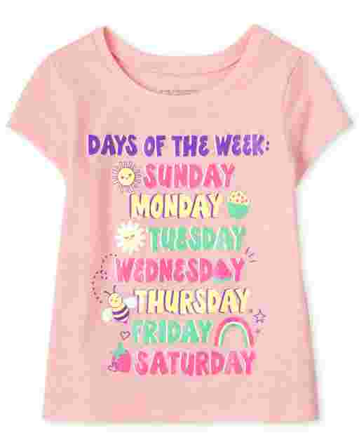 Baby And Toddler Girls Short Sleeve 'Days Of The Week' Graphic Tee