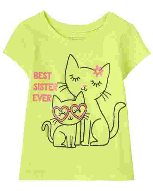 Baby And Toddler Girls Short Sleeve 'Best Sister Ever' Cat Graphic Tee