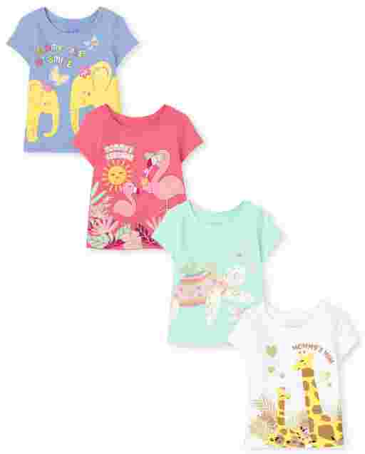 Toddler Girls Short Sleeve Mommy's Mini Animals Graphic Tee 4-Pack