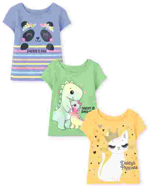 Toddler Girls Short Sleeve Daddy's Girl Animals Graphic Tee 3-Pack