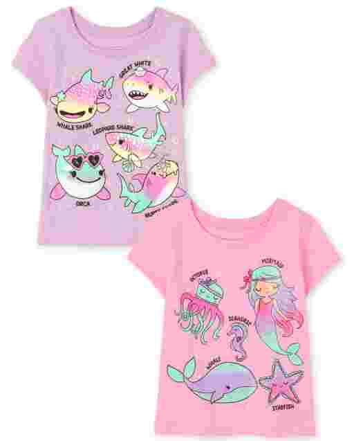 Toddler Girls Short Sleeve Ocean Graphic Tee 2-Pack
