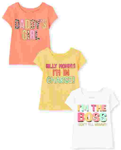 Toddler Girls Short Sleeve Family Graphic Tee 3-Pack