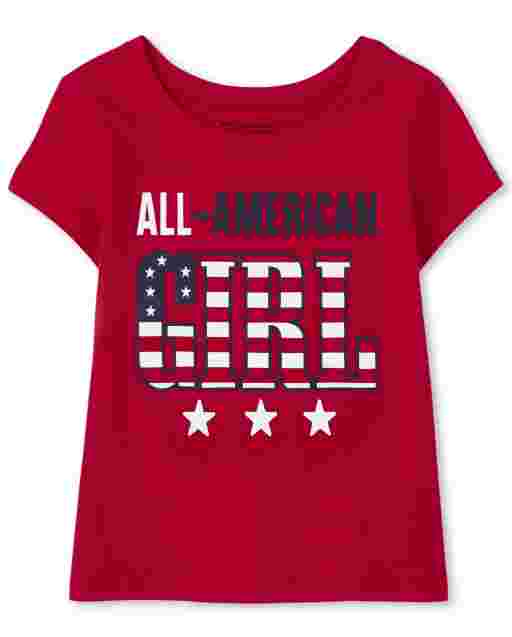 Baby And Toddler Girls Matching Family Short Sleeve Americana All American Girl Graphic Tee
