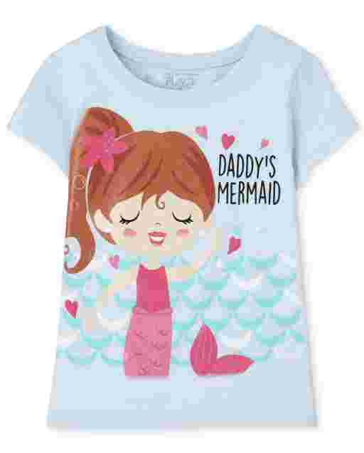 Baby And Toddler Girls Short Sleeve 'Daddy's Mermaid' Graphic Tee