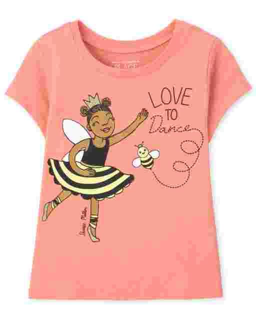 Camiseta estampada de manga corta ' Love To Dance ' bebés y niñas pequeñas