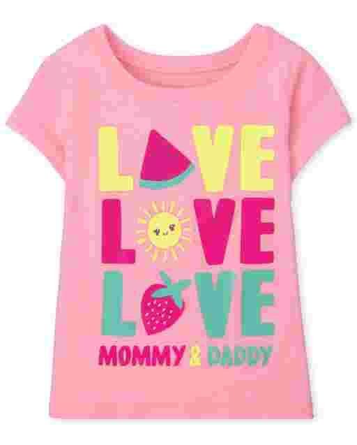 Camiseta de manga corta para bebés y niñas pequeñas ' Love Love Love Mommy & Daddy ' Fruit Graphic Tee