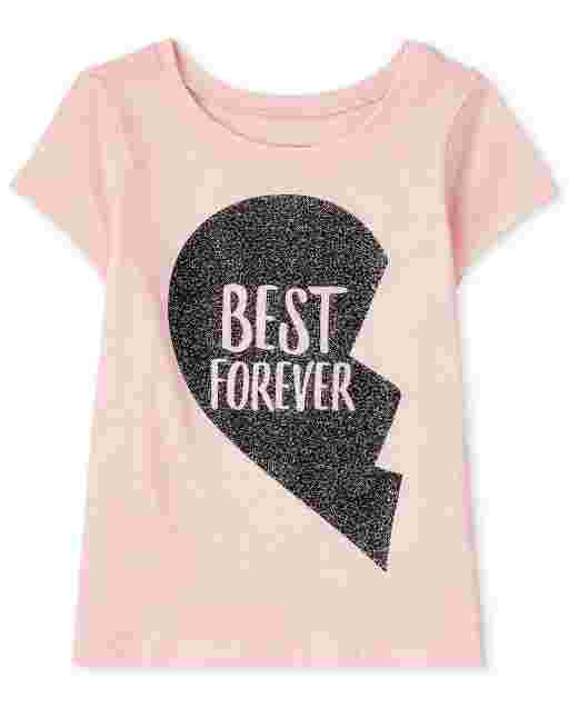 Baby And Toddler Girls Short Sleeve 'Best Forever' Best Friends Graphic Tee