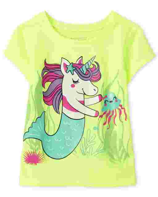 Baby And Toddler Girls Short Sleeve Mermaid Unicorn Graphic Tee