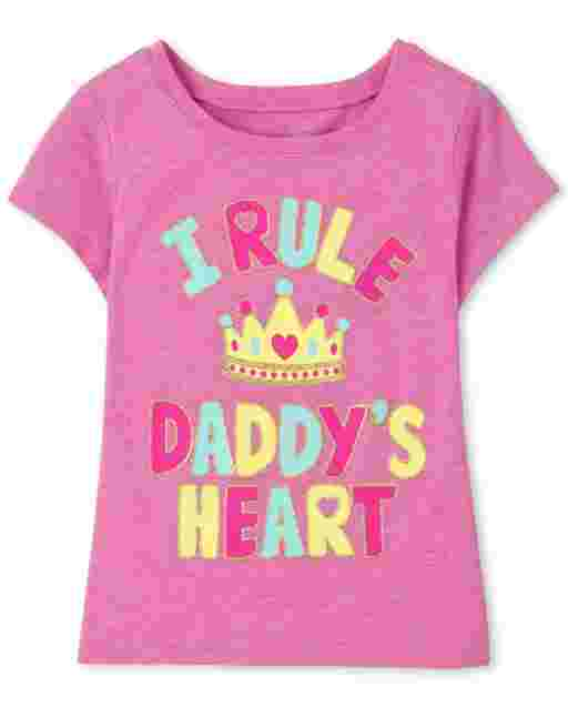 Baby And Toddler Girls Short Sleeve 'I Rule Daddy's Heart' Graphic Tee