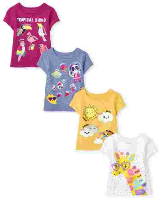 Toddler Girls Short Sleeve Trend Graphic Tee 4-Pack
