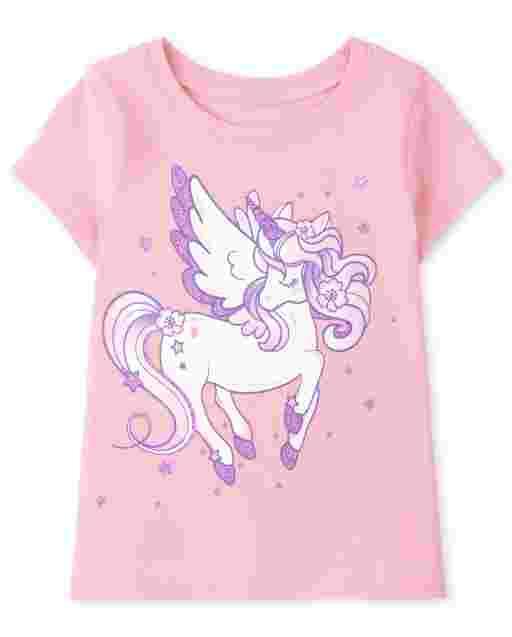 Baby And Toddler Girls Short Sleeve Unicorn Graphic Tee