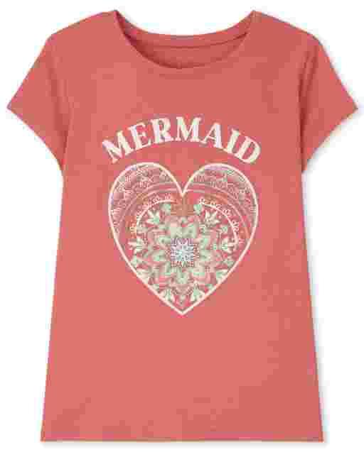 Girls Short Sleeve Mermaid At Heart Graphic Tee