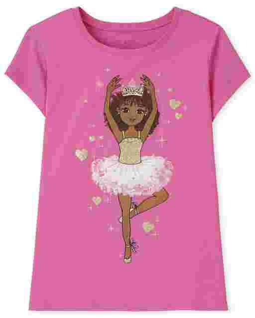 Girls Short Sleeve Ballerina Graphic Tee