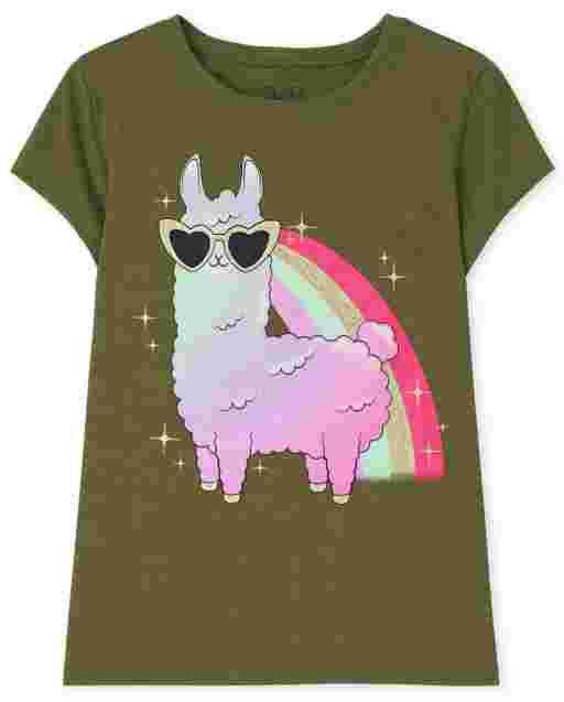 Girls Short Sleeve Llama Graphic Tee