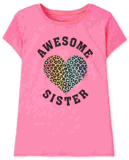Girls Short Sleeve Awesome Sister Graphic Tee